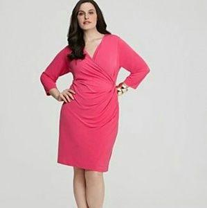 Calvin Klein Plus Hot Pink Faux Wrap Dress